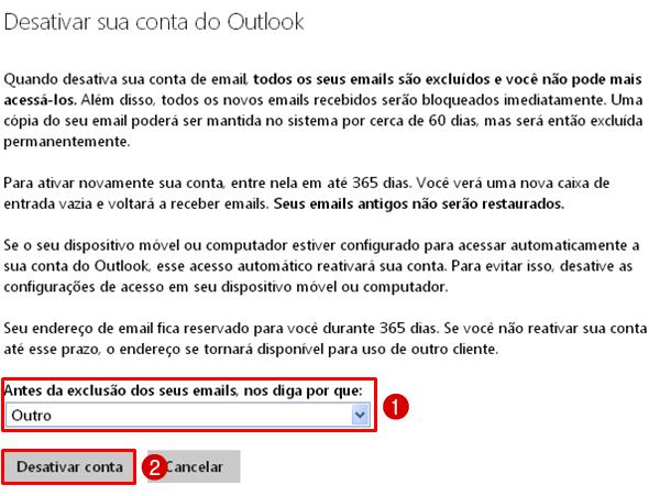 Excluir Conta Outlook