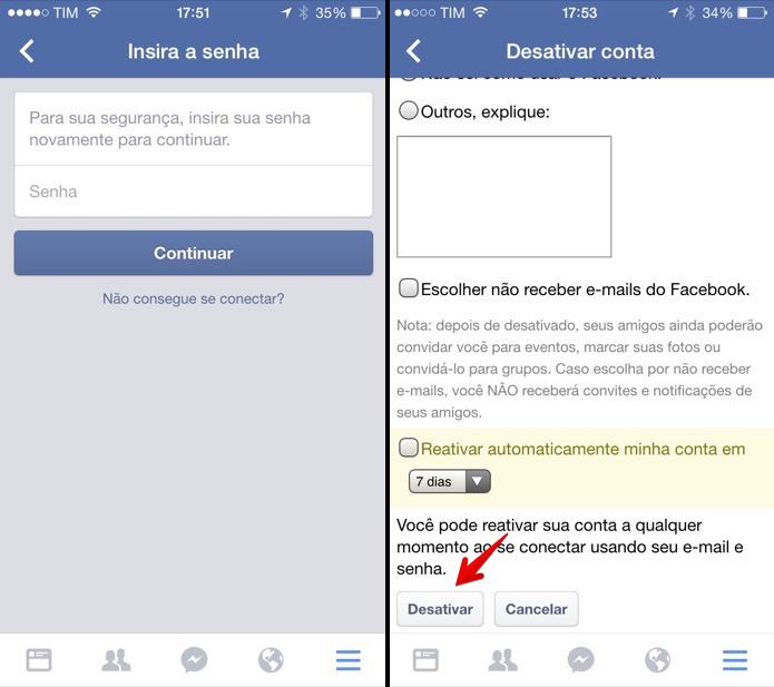 Como desativar o Facebook